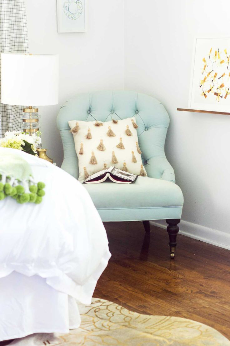 Blue tufted slipper chair - Blue Tufted Slipper Chair With Tassel Pillow And Brass Table Lamp On Thou Swell Thouswellblog