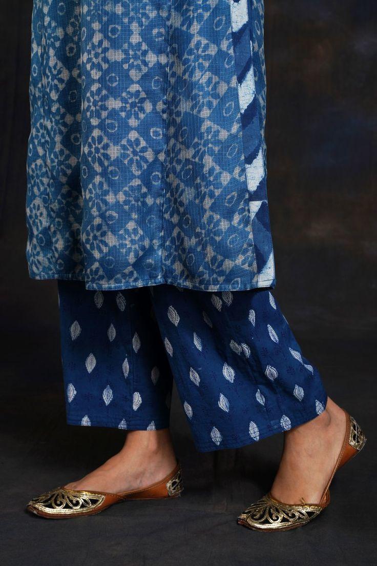 Indigo white printed pants in 2020 printed pants indigo