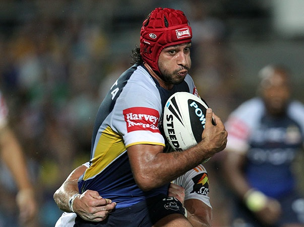 Rd 1 v Titans: Johnathan Thurston wears red head gear for Daniel Morcombe
