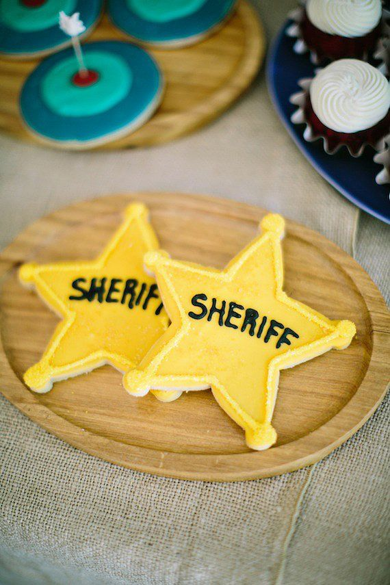 Sheriff Cookies: Paulie's created the sheriff's badge cookies.  Source: Jennifer Laura Design