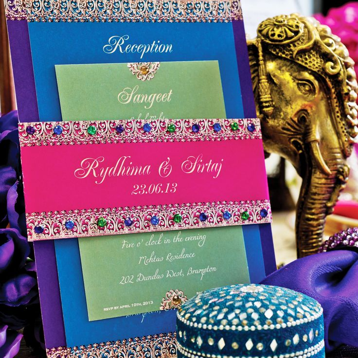 Such beautiful colors and intricate details on these wedding invitations. Bejeweled Indian Wedding Invitation Suite by withanindiantouch, $12.00