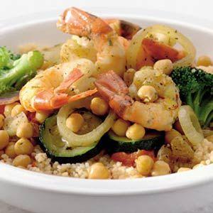 Recept - Couscous met garnalen en stoomgroenten - Allerhande