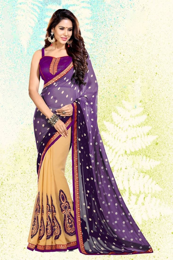 612c75b73f Wine embroidered georgette saree with blouse in 2019 | desi style ...