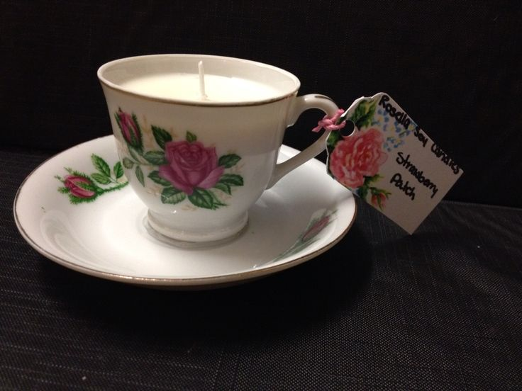 Strawberry patch vintage teacup candle