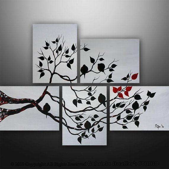 Pintura abstracta pájaros del amor árbol por GabrielaStauffer