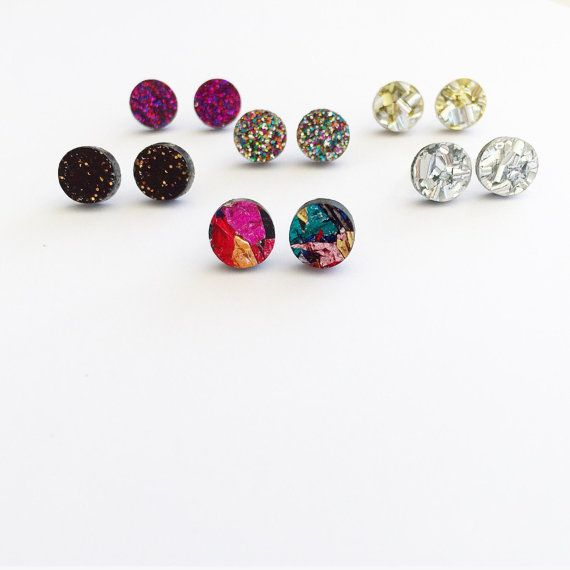 Mini Glitter Pop Studs Choose Your Own Colour by EachToOwn