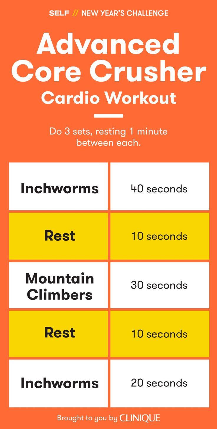 Для тренировки Advanced основной дробилки, сократить периоды отдыха от 15 секунд до 10 секунд, а затем вместо 30 секунд каждого упражнения, сделать 40 секунд первого inchworms, 30 секунд альпинистов и 20 секунд заключительных inchworms.