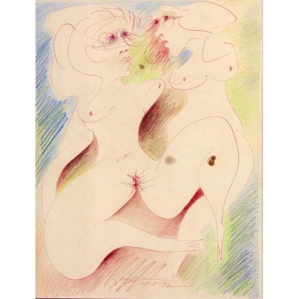 Serpa, Ivan<br /> Mulheres. Lápis de cera sobre papel, 56x45 cm, 1972, A.C.I.
