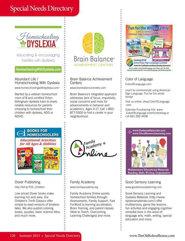 64 best directories images on pinterest homeschool special needs directory the old schoolhouse magazine summer 2015 page fandeluxe Image collections
