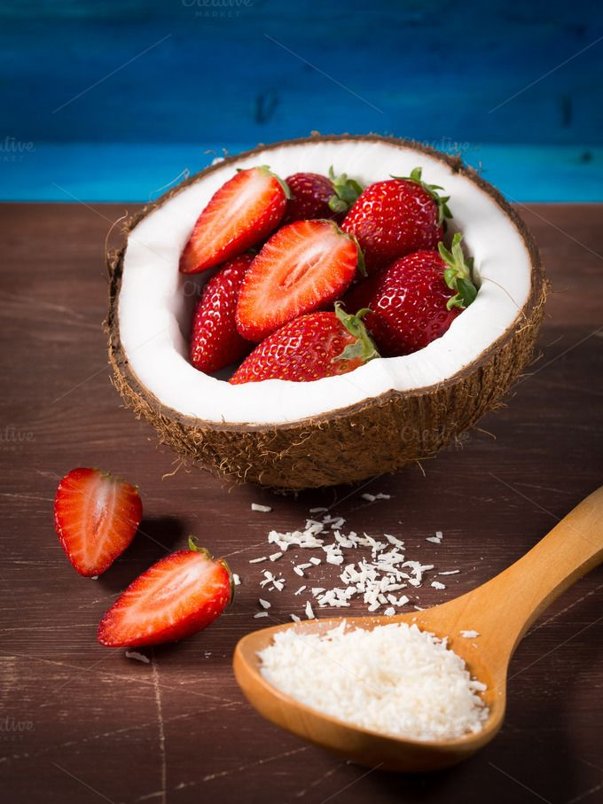 Coconut and strawberries by Life Morning Photography on @creativemarket