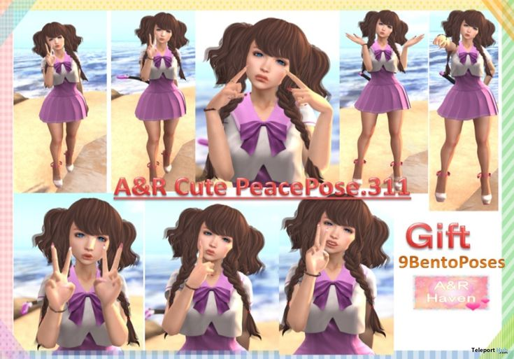 Cute Peace Pack of 9 Bento Poses Gift by A&R Haven