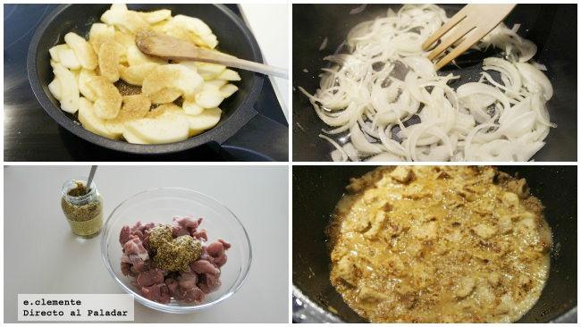 Wok de cerdo con mostaza y manzanas caramelizadas