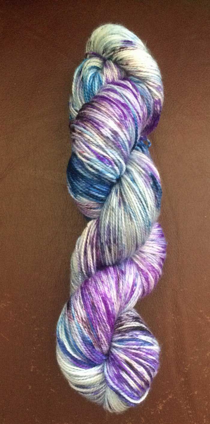 Hand-dyed Speckled Sock Yarn Luxury Sock 4 ply Fingering Blurple-1 by HeatherMaid on Etsy
