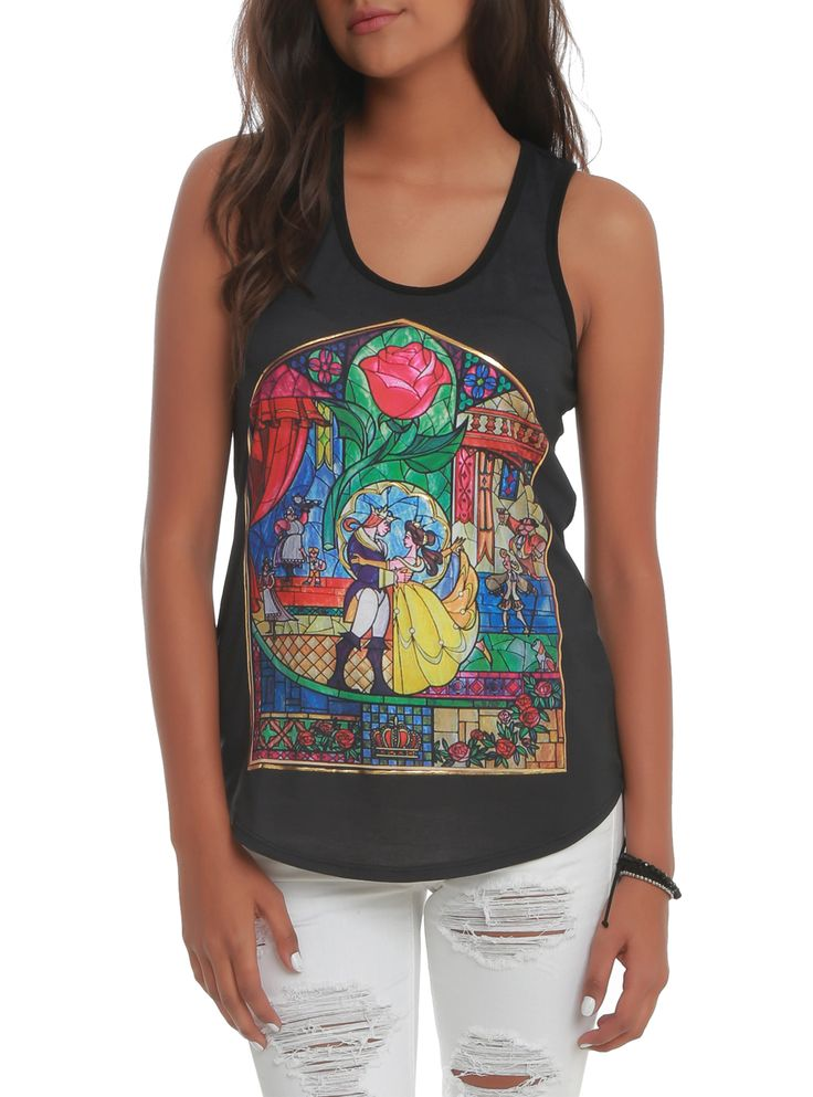 Disney Beauty And The Beast Stained Glass Girls Tank Top   Hot Topic