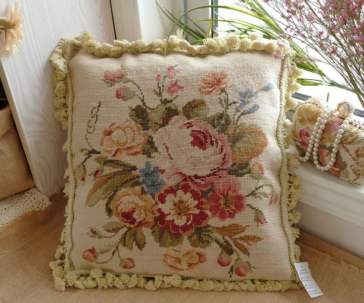 """16"""" European Country Style Pastel Wool Hand Stitched Floral Needlepoint Pillow 