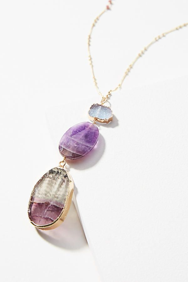Slide View: 1: Glistening Amethyst Pendant Necklace