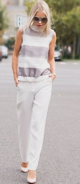 White pants – Cum purtam pantalonii albi? | Catalina Grama #white  women fashion outfit clothing style apparel @roressclothes closet ideas