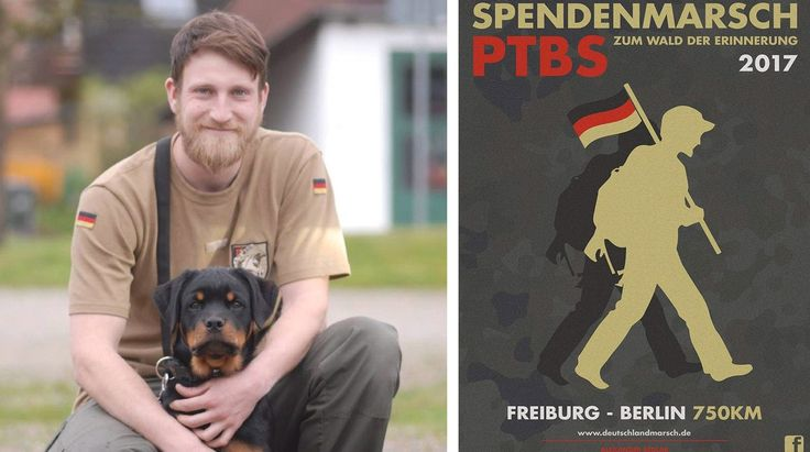 Alexander Sedlak(27) marschiert mit seinem Rottweiler Bruno(1) von Freiburg nach Berlin - Mit Flyern wird für den Marsch geworben