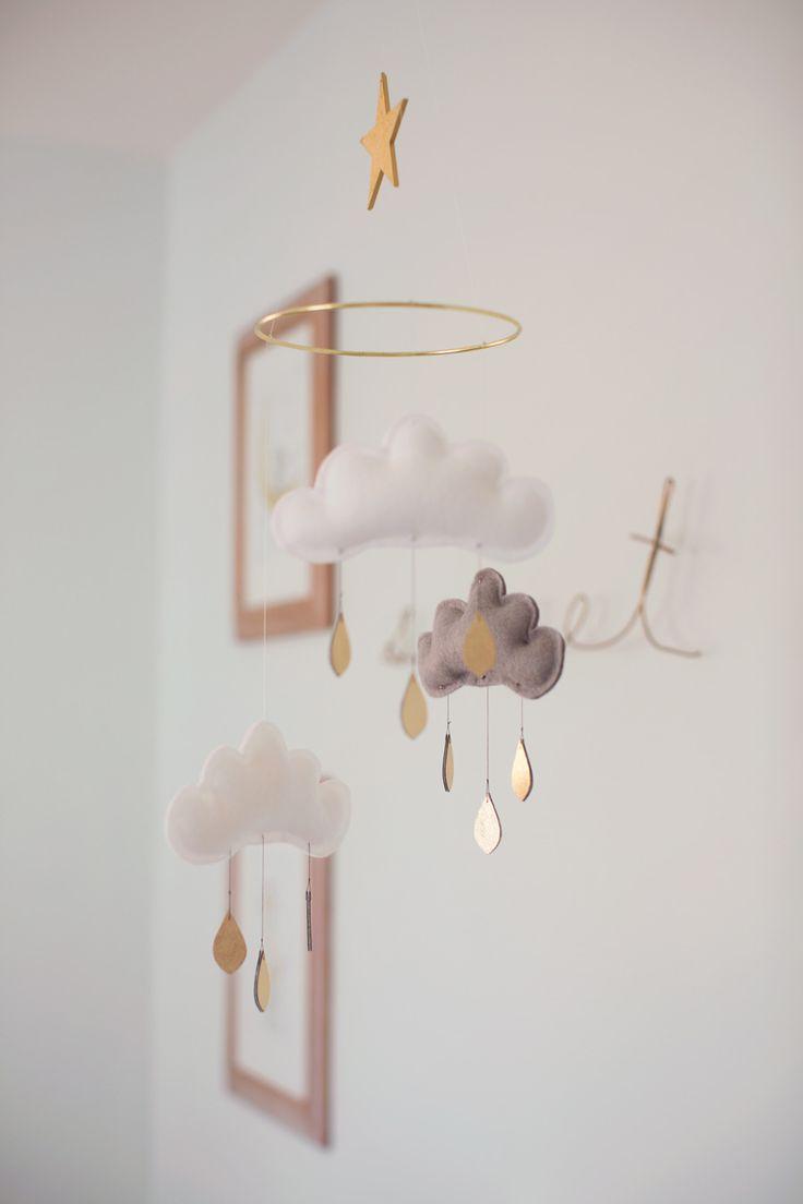 Golden raincloud mobile