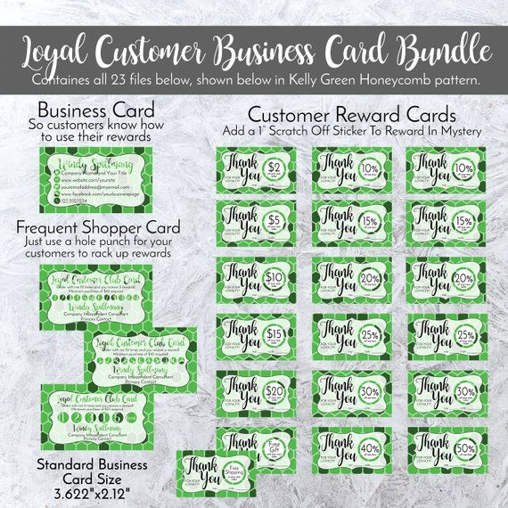 Loyal Customer Business Card Bundle Personalized In Kelly Etsy Business Card Pattern Direct Selling Business Reward Card