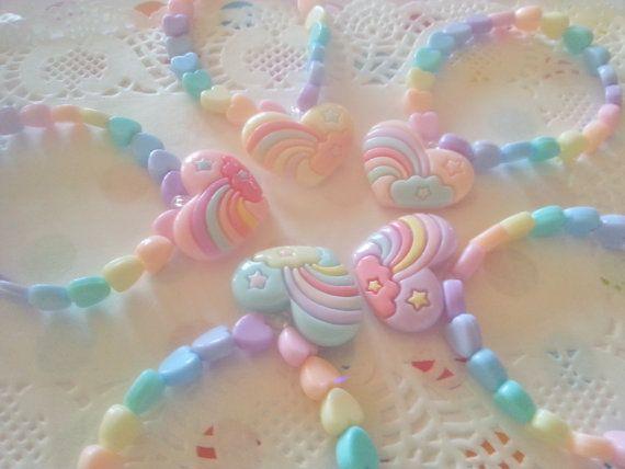 Rainbow Hearts Bracelet - Fairy kei Kawaii Decora