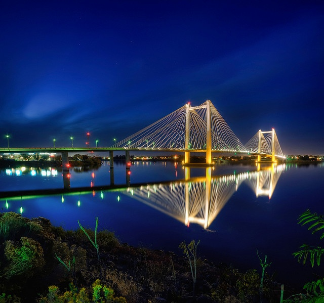 The Cable Bridge crossing the Columbia River between Kennewick and Pasco, Washington, Tri-Cities, WA