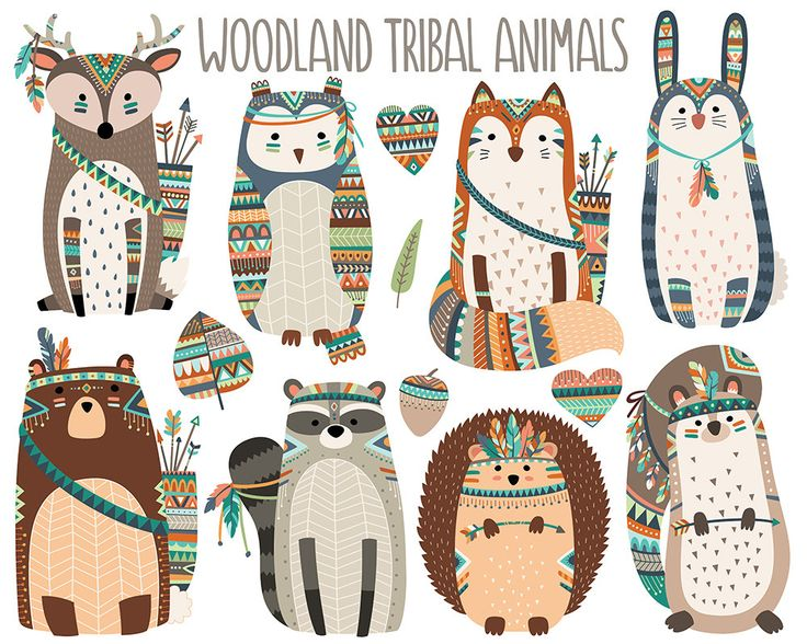 Woodland Tribal Animals Clipart – Forest Animal Clip Art, Tribal Clipart, Digital Download, Cute Woodland Nursery, Digital Clipart Set