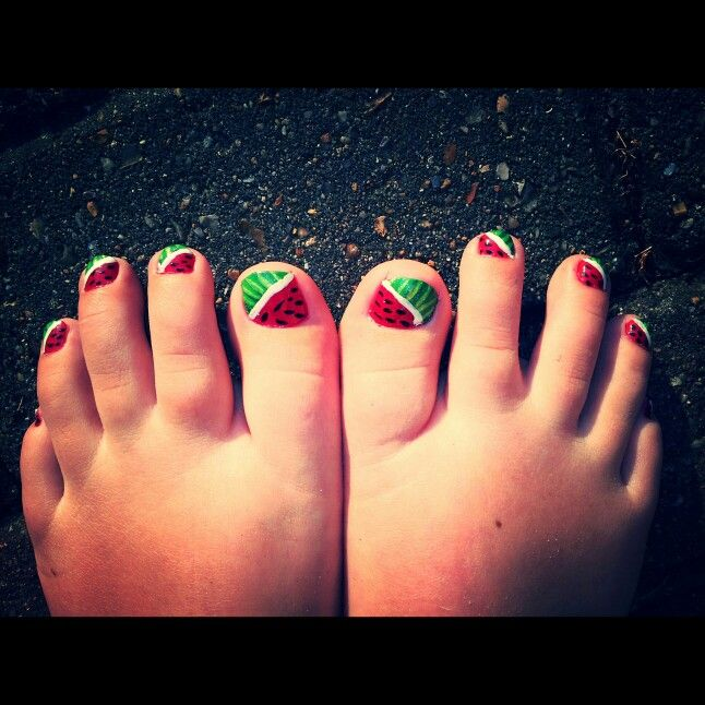 Water melon toe nails