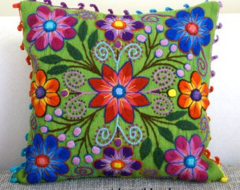 Peru Pillow Hand embroidered flowers Sheep & alpaca by khuskuy