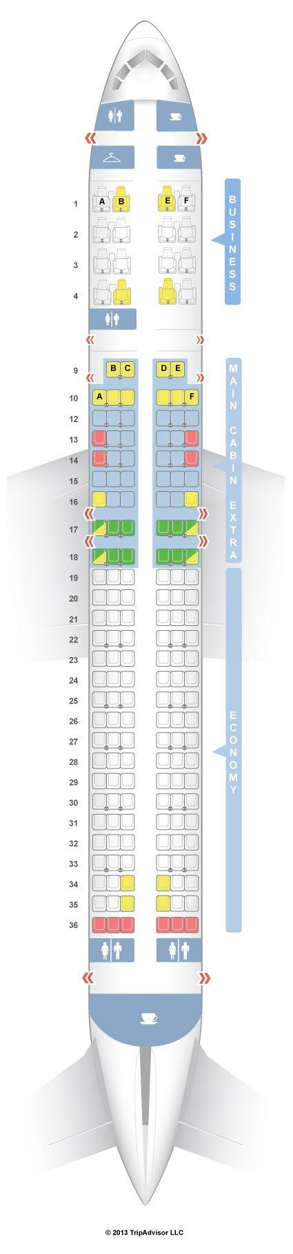 SeatGuru Seat Map American Airlines Boeing 757-200 (752) International