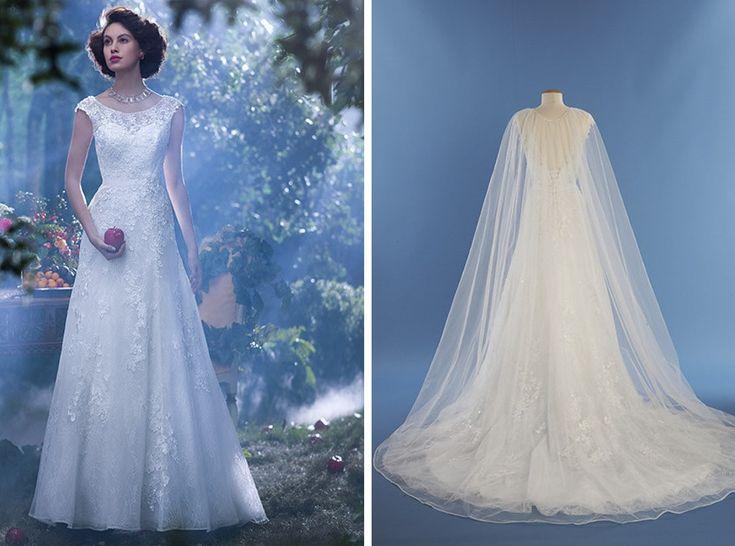 """A Disney acaba de lançar uma coleção de vestidos de noivas inspirados em sua princesas, que buscam representar a personalidade e o estilo de cada personagem. Modelo: Branca de Neve, de """"Branca de Neve e os Sete Anões"""""""