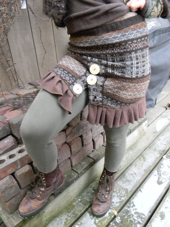 Back to EARTHupcycled wool sweater SKIRT w/ carved by Inspirallign, $38.00