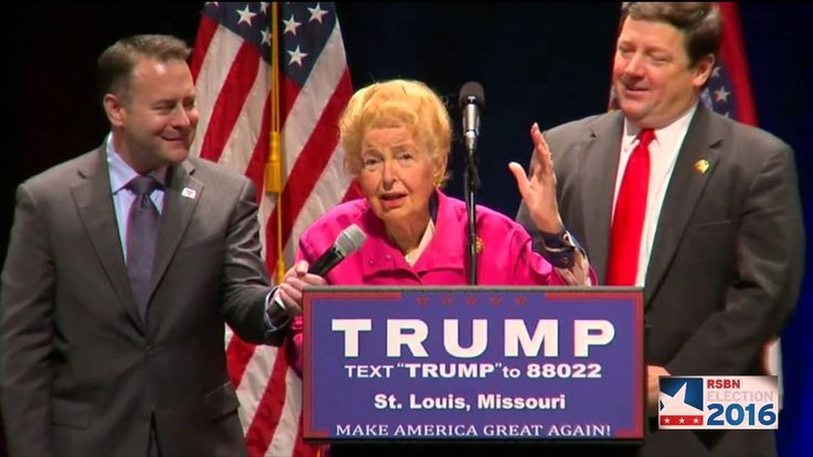 Phyllis Schlafly Endorses Donald Trump at Rally in St. Louis, MO (3-11-16)