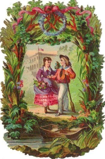 Victorian Die Cut Scrap Couple in Floral Arbor  c1880s