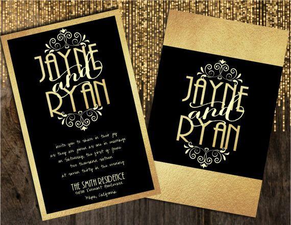 Black Foil Wedding Invitations Gold Wedding By Joyinvitations