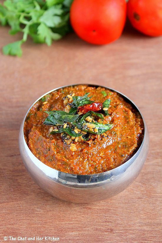 tomato pacchadi:I 3-4 large ripen Tomatoes, Coriander leaves(roughly 1.5 cups) 2 tbsp Urad dal 1 tsp Cumin seeds 5-6 Red chillies a small cherry size Tamarind Salt to taste 1 tbsp Oil to temper: 1 tsp Oil/Ghee 1/2 tsp Mustard seeds 1 tsp Urad dal a sprig of Curry leaves 1 Red chili,broken a pinch of Asafoetida