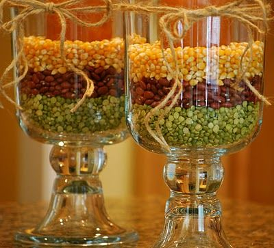 Festive decoration using a candle, popcorn kernels, red beans, and green peas!Decor Ideas, Vases Fillers, Thanksgiving Decor, Decorating Ideas, Candles Holders, Fall Decorations, Fall Decorating, Holiday Decor, Thanksgiving Tables