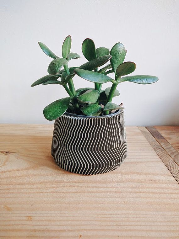 Bring a touch of originality and modernity to your succulents or cacti in pots with this Pot / pot cover design, geometric, printed in 3D Wooden, with a concrete visual.  No need to repot your plants or cacti, you can put your pot directly (standard 5.3 or 9cm diameter) inside!  Its clean lines and material will bring a natural side, zen, modern and original touch to your home, but also makes an original gift for your loved ones!  This planter is also available in natural wood color : ht...