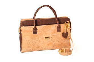Executive briefcase or Laptop bag with ziper top closure - QUIOTO Natural