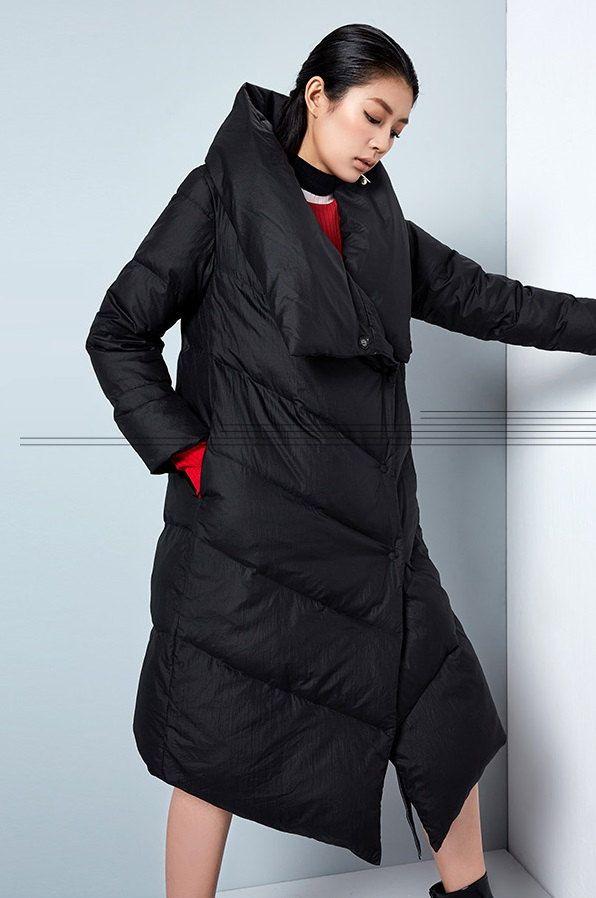 Womens Winter Loose Fitting Elegance Hooded Down von hodoostory