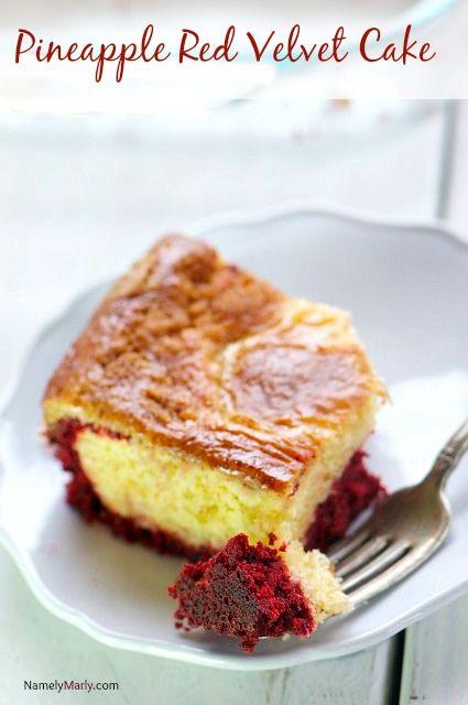 Pineapple Red Velvet Cake Bars  - a fun, tasty flavor combination!