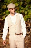 Sand Linen Vest and Pants & Poor Boy Cap