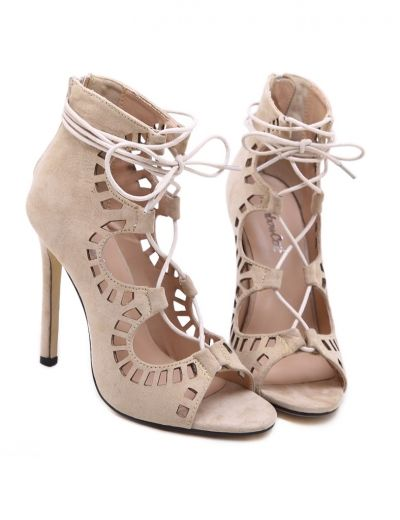 Freeshipping Apricot High Heel Hollow Heels