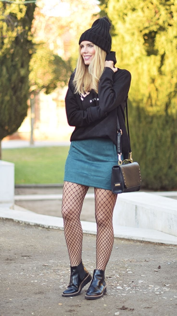 """ONE LOOK ALLOTERRENO -  As first seen on blog """"No Me Vendas La Moto"""" here: ONE LOOK ALLOTERRENO  She is wearing tights similar here: Black Fishnet Tights Elasticized knit waistband open fishnet body.  #tights #pantyhose #hosiery #nylons #tightslover #pantyhoselover #nylonlover #legs"""