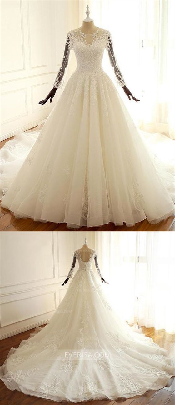 5b5604ca9da1 White Scoop Neck Long Sleeves Open Back Wedding Dresses Long Bridal Gown  With Lace #wedding