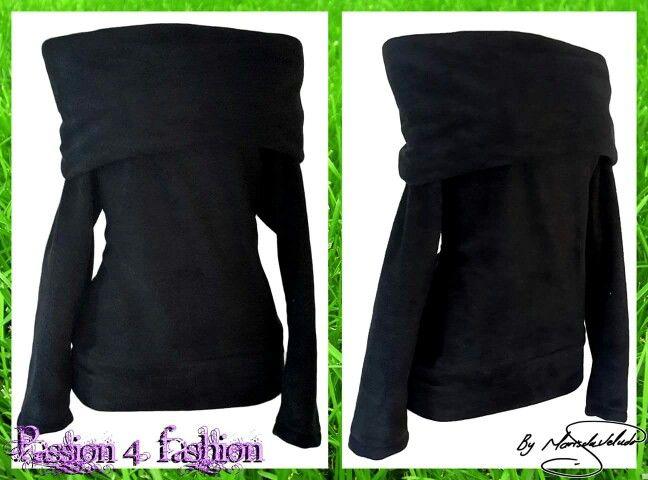 Fleece winter top with broad folded neckline that can be worn in several ways. #mariselaveludo #fashion #casualwear #designertops #passion4fashion #wintertops #fleecetop