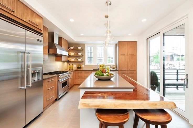 Home Design, Fantastic Open Plan Kitchen Idea With Classy Kitchen Island And Chic Bar Stools Plus Astonishing Wooden Cabinets: Amazing and Adorable Stampade Rotary Home Design Ideas