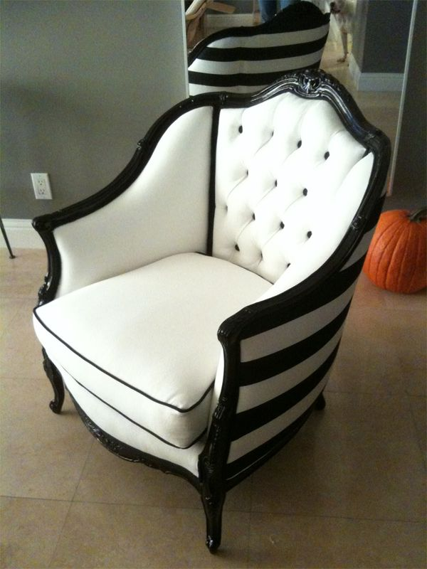 Attrayant Black Trimmed Upholstered Chair With Back Of Chair Black And White Stripe