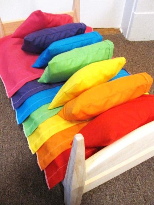 Bright rainbow sheets......