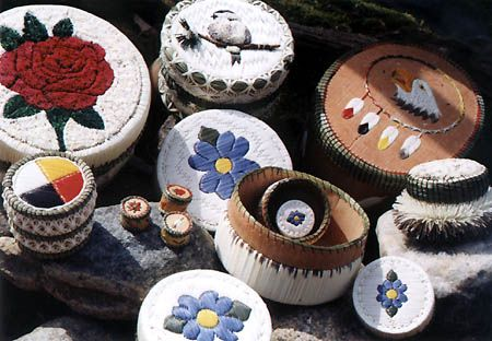 Group of Ojibwe quill boxes available at Lillian's Crafts in West Bay, Ontario, Canada. West Bay First Nation, also known as M'ichigeeng, is just minutes north of Mindemoya, west of Little Current, and east of Gore Bay on Manitoulin Island, 2nd largest freshwater island in the world.